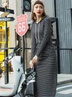 MD0018 ชุดเกาหลี เสื้อผ้าเกาหลี เสื้อผ้าแฟชั่น เสื้อมีฮู้ด แม็กซี่เดรส MaxiDress ชุดกระโปรงยาว ลายขาวดำ