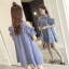 เดรสคลุมท้องทรงบาน สไตล์น่ารัก ลายริ้วสีฟ้า thumbnail 2