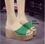 รองเท้าส้นเตารีด สไตล์เกาหลี(สีเขียว) thumbnail 3