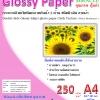 กระดาษอิ้งค์เเจ็ทพิมพ์ภาพกันน้ำ 2 หน้า ชนิดผิวมันวาวลายผ้า หนา 250 แกรม ขนาด A4 จำนวน 50 แผ่น