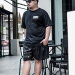 กางเกงขาสั้น พรีเมี่ยม ผ้า COTTON รหัส SS T215 A สีดำ แถบทหาร