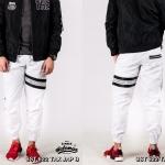 กางเกง JOGGER พรีเมี่ยม ผ้า COTTON รหัส SST 622 TAX JAP B สีขาว แถบดำ