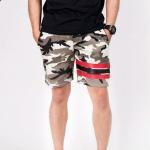 กางเกงขาสั้น พรีเมี่ยม ผ้า วอร์ม รหัส WT 278 Red ลายทหาร แถบ แดง