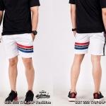 กางเกงขาสั้น พรีเมี่ยม ผ้า COTTON รหัส SST 222 TAX JAP RedBlue สีขาว แถบแดงน้ำเงิน
