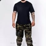 กางเกง jogger ขาจั๊ม ผ้าวอร์ม WT 677 B ลายทหาร แถบดำ