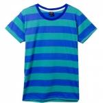 เสื้อยืดคอกลมลายทาง S149 (สีสีฟ้าสลับเขียวริ้วใหญ่)