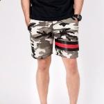 กางเกงขาสั้น พรีเมี่ยม ผ้า วอร์ม รหัส WT 278 Black Red ลายทหาร แถบ ดำ แดง