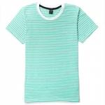 เสื้อยืดคอกลมลายทาง S137 (สีเขียวมินต์ริ้วขาวเล็ก )