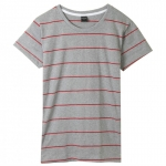 เสื้อยืดคอกลมลายทาง S156 (สีเทาเส้นแดง)