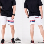 กางเกงขาสั้น พรีเมี่ยม ผ้า COTTON รหัส SST 222 RedBlue สีขาว แถบแดงน้ำเงิน