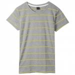 เสื้อยืดคอกลมลายทาง S155 (สีพื้นเทาเส้นเหลือง)