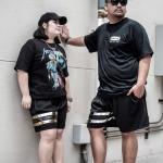 กางเกงขาสั้น พรีเมี่ยม ผ้า COTTON รหัส SS T215 S สีดำ แถบเงิน
