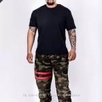 กางเกง jogger ขาจั๊ม ผ้าวอร์ม WT 677 R ลายทหาร แถบแดง