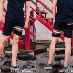 กางเกงขาสั้น พรีเมี่ยม ผ้า COTTON รหัส SST 215 Brown SN สีดำ แถบน้ำตาลงู