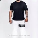 กางเกง JOGGER พรีเมี่ยม ผ้าวอร์ม รหัส WT622 B สีขาว แถบดำ