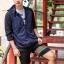 กางเกงขาสั้น พรีเมี่ยม ผ้า COTTON รหัส SST 215 ฺGC สีดำ แถบ เขียวแดง thumbnail 2