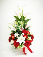 แจกันดอกไม้ประดิษฐ์โทนแดงใหญ่ รหัส 3078