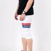 กางเกงสามส่วน พรีเมี่ยม ผ้า COTTON รหัส SST 322 JAP RedBlue สีขาว แถบแดงน้ำเงิน