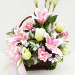 กระเช้าดอกไม้ประดิษฐ์ รหัส 3084