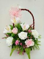 กระเช้าดอกไม้ประดิษฐ์เล็ก รหัส 2075