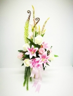แจกันดอกไม้ประดิษฐ์โทนชมพูขาวใหญ่ รหัส 3079