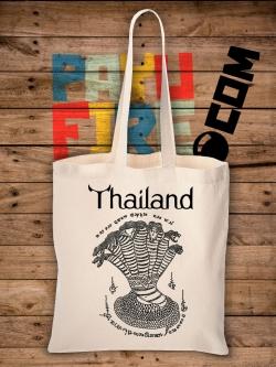กระเป๋าผ้าดิบ ยันต์ไทยโบราณ : พญางู ๗ เศียร