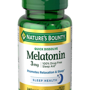 NATURES BOUNTY Melatonin 3 mg. 240 เม็ด รสเชอรี่ ทานง่าย ดูดซึมเร็ว วิตามินคลายเครียด ช่วยให้หลับสบาย จากอเมริกาค่ะ