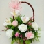 กระเช้าดอกไม้ประดิษฐ์กุหลาบชมพูขาว-ลิลลี่ขาว รหัส 2075