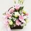 กระเช้าดอกไม้ประดิษฐ์ลิลลี่ชมพู รหัส 2072