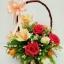 กระเช้าดอกไม้ประดิษฐ์กุหลาบแดง-ลิลลี่ส้ม รหัส 2074