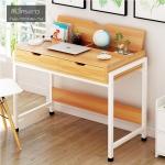 CASSA โต๊ะทำงาน โต๊ะเขียนหนังสือ โต๊ะคอมพิวเตอร์ โต๊ะอเนกประสงค์พร้อมชั้นวางเปิด/ปิดในตัว (สีน้ำตาลโครงขาว) ขนาด 100X48 cm รุ่น F68-100X48-YW