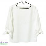 เสื้อแฟชั่นผ้าฮานาโกะแขนยาวแต่งโบว์