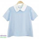 เสื้อแฟชั่นผ้าฮานาโกะ-แขนสั้นคอบัว-สีฟ้า