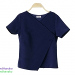 เสื้อแฟชั่นผ้าฮานาโกะ-แขนสั้นคอป้าย-สีน้ำเงิน
