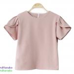 เสื้อแฟชั่นผ้าฮานาโกะ-แขนแหวกคอกลม-สีโอวัลติน