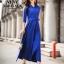 Maxi dress สีน้ำเงินเนื้อผ้า Cotton+Polyester คอปก กระดุมผ่าหน้า แขนยาวห้าส่วน มาพร้อมเชือกผ้าผูกเอว thumbnail 1
