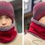 High quality winter wool hat หมวกไหมพรหมพร้อมผ้าพันคอ (สีแดง) thumbnail 2