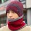 High quality winter wool hat หมวกไหมพรหมพร้อมผ้าพันคอ (สีแดง) thumbnail 1