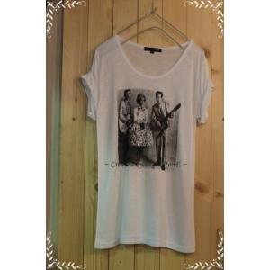 เสื้อยืด ลายวินเทจ MUSIC Size No.40 (ขาว ครีม)