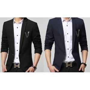 เสื้อสูทแฟชั่นชาย สลิมฟิต กระเป๋ากลัด ดุมเดียว สีน้ำเงิน ดำ Size No.36 38 40 42