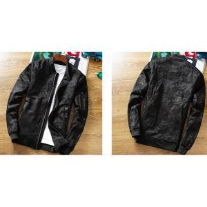 เสื้อแจ็คเก็ตเบสบอลซิบ สลิมฟิต ลายพรางทหาร สีดำ No.38 40 42 44