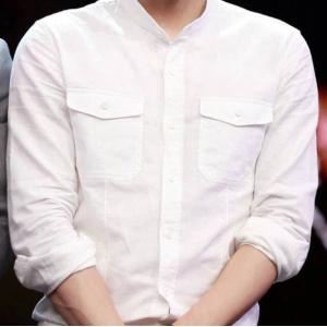 เสื้อเชิ้ตคอจีนแขนยาว สลิม แฟชั่นกระเป๋าปะ 2pkt สีขาว size 36 38 40 42 44