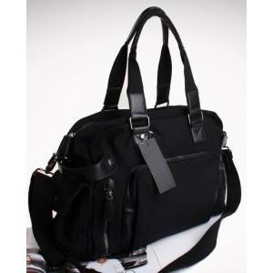 กระเป๋าเรโทร Hold all สไตล์อังกฤษ แต่งซิบสี่เหลี่ยม ผ้าใบ สีดำล้วน