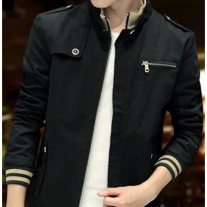 เสื้อคลุม เสื้อหนาวผู้ชาย บอมเมอร์ ซิบ แต่งบ่าอก แบบคอเข็มขัดซิบตั้ง สีดำ No 46