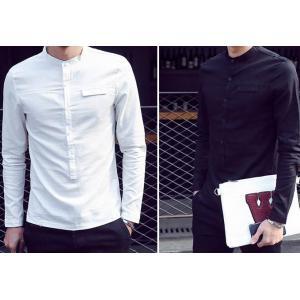 เสื้อเชิ้ตคอจีนแขนยาวเกาหลี แฟชั่นแต่งกระเป๋าอกพิเศษ สีขาว ดำ No. 34 36 38 40 42