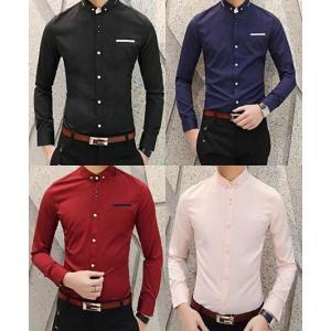 2ตัว999+หลากสีเสื้อเชิ้ตแขนยาว คลิบกระเป๋าแต่งมุมปก สีดำ น้ำเงิน ชมพูอ่อน ขาว No.35 37 39 41 42
