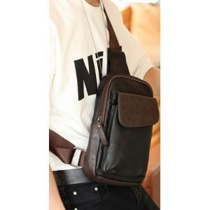 กระเป๋าสะพายเฉียงหนัง PU คลาสสิคmini Ipad สีดำขอบน้ำตาล
