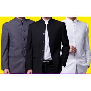 สีพิเศษ!!ชุดสูท คอจีนกระดุมดำ เสื้อ+กางเกง Size No.36 38 40 42 44 46 ดำ เทา ขาว น้ำเงิน
