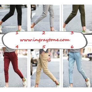 กางเกงสแล็คสามส่วน แต่งเทป kq No.28-34 ขาว เทา กากี น้ำเงิน ฟ้า