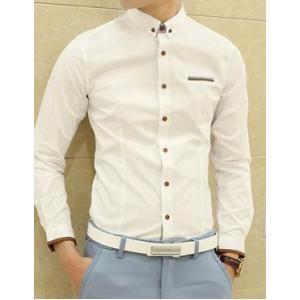 เล็กพิเศษ!!เสื้อเชิ้ตแขนยาว ทรงฟิต ปกเล็กสไตล์อังกฤษ สาบลายสก็อต สีขาว